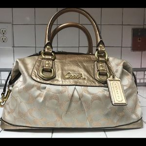 Coach champagne & bronze signature pattern purse